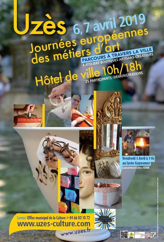 Affiche des Journées Européennes des Métiers d'Art à Uzès les 6 et 7 avril 2019