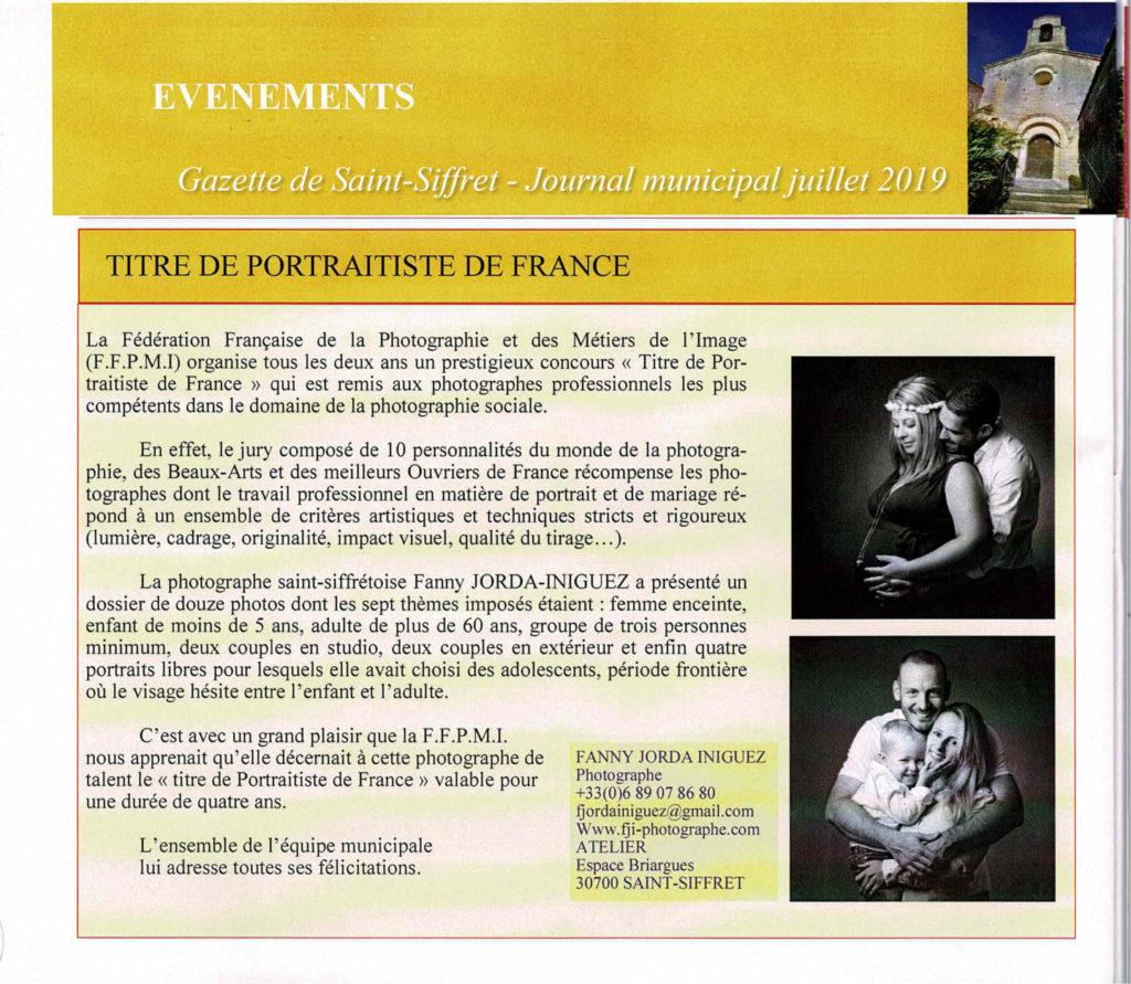 Titre de Portraitiste de France Gazette Saint-Siffret